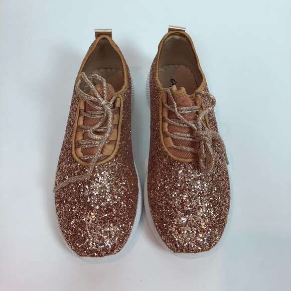 f940cd31095d4 Qupid Shoes | Spyrock Rose Gold Glitter Sneakers Size 7 | Poshmark